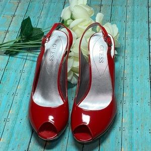 Guess Red Patent Leather Peep Toe Heels